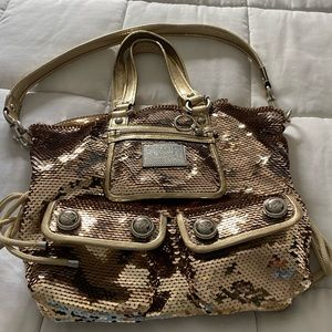 Gold sequin coach bag